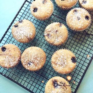 Gluten-free + vegan blueberry muffins