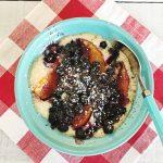 Blueberry Peach Cobbler Mug Cake