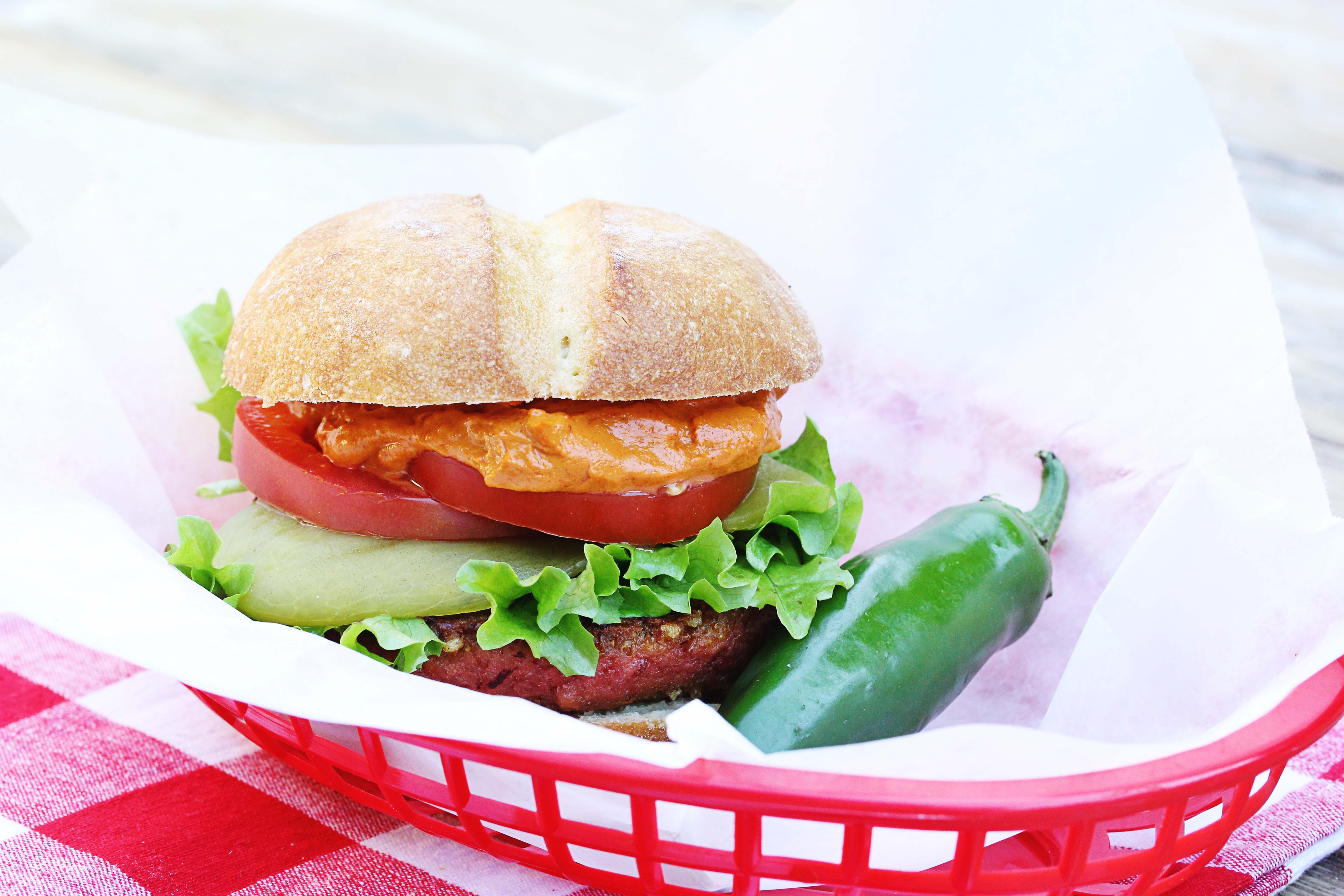 A photo of Vegan Gluten-Free Chipotle Burger | Julie's Kitchenette