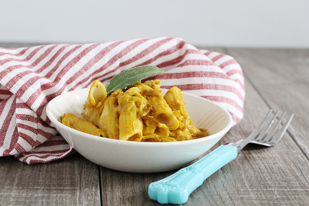A Photo Of Gluten-Free + Vegan Pumpkin Sage Pasta