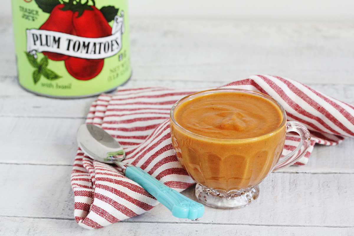 Creamy Vegan + Gluten-Free Tomato Herb Soup | Julie's Kitchenette